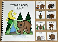 "This Adapted Book, ""Where is Grizzly Hiding?"" is a forest animals themed book that teaches prepositions or positional words and reinforces colors and color words. Students follow a silly bear as he hides among different colored forest animals. This book also works great during a camping unit, because it focuses on animals that students might see while camping. In this activity, the teacher or therapist reads the story as the students identify the bear's position in relation to the other…"