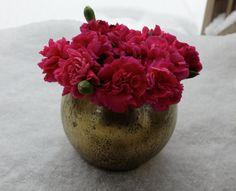 Distressed Gold Mercury Glass Round Vase Wedding by HannaPlusJosh, $11.99