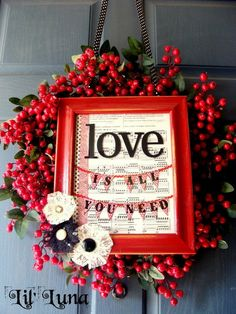 This would be cute used as a Christmas wreath but with a hymn page instead or a Bible verse in the frame