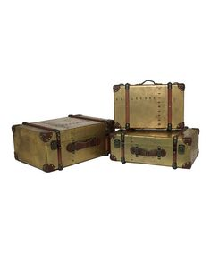 Take a look at this Gold Wood Trunk Set by Three Hands Corporation on #zulily today! $270 !!