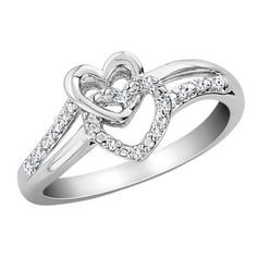 Diamond Double Heart Promise Ring in Sterling Sil ($200)