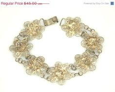 Vintage Sterling Silver Filigree Flower Link Bracelet Mexico #bestofEtsy #teamlove