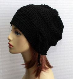 3f504b4471c Black Hat Slouchy Women Hat Crochet Hat Crochet Womens Beanie Slouchy Black  Adult Hat