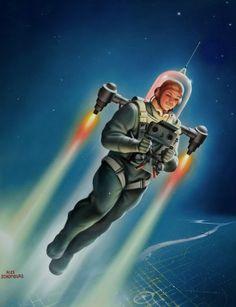 ALEX SCHOMBURG - art for Science Fiction Plus - March 1953
