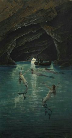 William Adolphe Bouguereau, Classic Paintings, Old Paintings, Fantasy Places, Fantasy Art, Empire State Building, Capri, Water Nymphs, Real Mermaids
