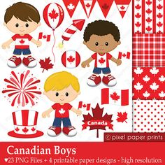 Canadian Boys - Canada day - Digital paper and clipart set Canada Day, Canadian Boys, Download Digital, Photoshop Elements, Project Yourself, T 4, Clipart, Art Images, Little Girls