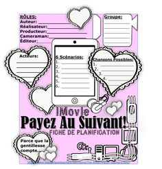 """PAYEZ AU SUIVANT – iMovie Drama Unit en français - incorporates music, technology, character studies and dramatic arts. Its model is a video from YouTube which encourages kindness. www.teacherspayte... In groups of 4-5, the students will be led in a step-by-step manner to create an iMovie which promotes the """"Pay it forward"""" theme of kindness in a school setting. Great for Valentines or """"12 Days of Giving"""" Christmas Assemblies!"""
