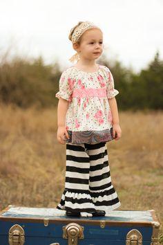 Ruffle Pants Black and White Knit Ruffle Pants by HappyLittleDress, $35.00