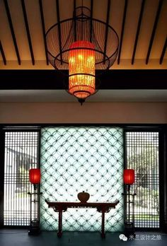 Chinese Style Lattice And Lamp