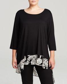 Karen Kane Plus Size Fashion Black and White Damask Lace Hem Top | Bloomingdale's #Karen_Kane  #Black_and_White #Floral #Plus #Size #Fashion #Plus_Size_Fashion #Bloomingdales