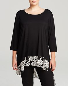 Karen Kane Plus Size Fashion Black and White Damask Lace Hem Top | Bloomingdale's #Karen_Kane  #Black_and_White #Floral #Plus #Size #Fashion #Plus_Size_Fashion #Bloomingdales