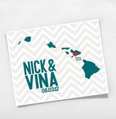 Cute idea for a save the date with names date and outline of state/province with a heart over the city with a chevron background!