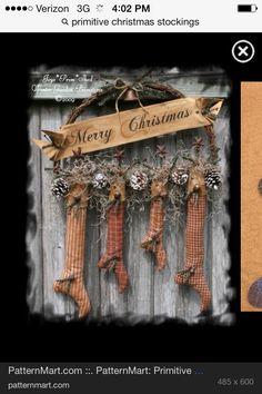 Merry Christmas Love this primitive Christmas wreath Christmas Love, Country Christmas, Winter Christmas, Vintage Christmas, Merry Christmas, Cowboy Christmas, Father Christmas, Christmas 2017, Christmas Colors