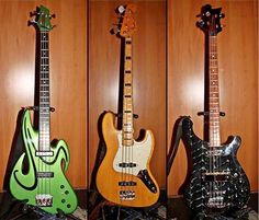 Some of Chris Squire's basses