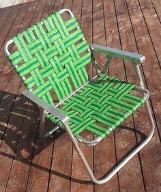 2 VINTAGE ALUMINUM Folding Webbed Lawn Chair Chaise Lounge