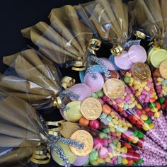 Gold and silver theme with colourful sweet's and chocolate for new year celebrations. www.honeywhispers.co.uk Candy Gift Baskets, Christmas Gift Baskets, Candy Gifts, Candy Party, Party Favors, Winter Onederland Party Girl 1st Birthdays, Rainbow Snacks, Candy Cone, Vintage Tea Parties