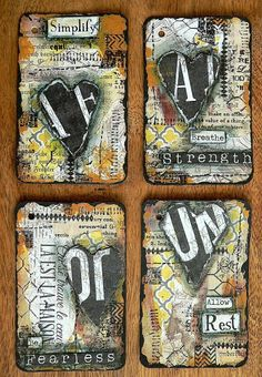 """It's been quite some time since I have done any altered playing cards for my 52 cards pickup project. If you don't know that Card Pickup"""" means, learn more about it here. This time my group of fo Atc Cards, Card Tags, Playing Card Crafts, Playing Cards, Altered Books, Altered Art, Art Journal Pages, Art Journals, Junk Journal"""