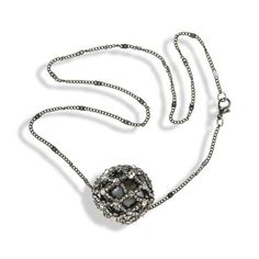 Short Dark Gray Chain Necklace With Gray Shimmering Crystals - Anthos Crafts - 1