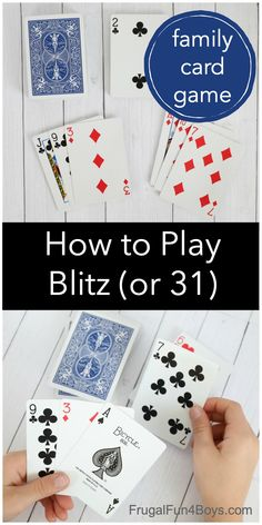 How to Play Blitz (Thirty One) - Frugal Fun For Boys and Girls Family Card Games, Family Reunion Games, Fun Card Games, Card Games For Kids, Playing Card Games, Kids Playing, Party Games, Activity Games, Stem Activities