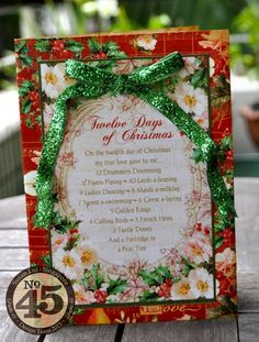 Beautiful Twelve Days of Christmas holiday Pop-up card by Susan Lui! #graphic45 #cards