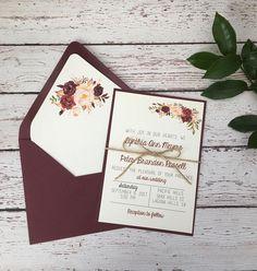 Floral wedding invitation, burgundy wedding invitation, marsala wedding invitation, boho invitation, rustic modern invitation, simple invite