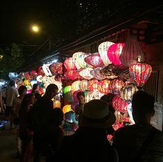 Lantern shops from night market in Hoi An, Vietnam