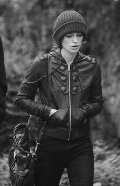 Keira Knightley. Love the jacket!