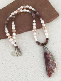 Mexican Agate Pendant Necklace on Beaded Strand of Pink Crazy Stone, Mother of…