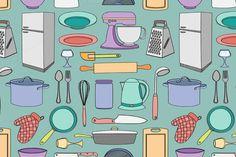 Doodle pattern kitchen by Netkoff on Creative Market
