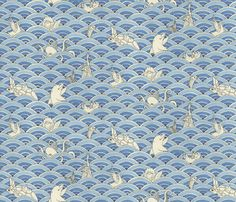 """Tidal Wave! fabric by ceanirminger on Spoonflower - custom fabric 42"""" wide at spoon flower.com 17.50 for headboard"""