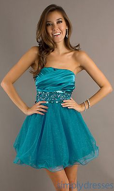 Blue Strapless Babydoll Dress at SimplyDresses.com