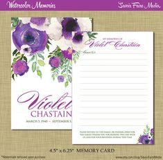 Funeral Memorial Memory Card // Printable Watercolor Prayer Card, Order of Service Program, Bookmark, Memory Card, Announcement, Purple  Printable by SavoirFaireMedia  #funeral#memorial #sympathy #violet #purple #memorycard