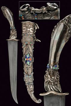 A beautiful silver mounted dagger, Chinese, 19th century.