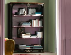 Charme & Color Sophie High End Italian French Designer Bookcase Handmade in Black Cherrywood.