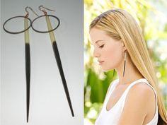 African Porcupine Quill Earrings, Long Dangle Earrings, Shoulder Dusting Spikes Earrings, Statement Earrings, Tribal Earrings $19.99