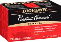 "Constant Comment - Bigelow Tea The Bigelow original. No recipe makes us prouder. To this day members of the Bigelow family are still the only ones who blend this secret recipe of black tea, rind of oranges and sweet spice. One sip and you will know there is still no tea like it… take a whiff then enjoy the one and only ""Constant Comment""."