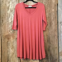 Piko-Marsala Short Sleeve V-Neck Dress