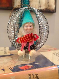 Shiny Brite Silver Wire Wrapped Musical Accordion Pine cone Elf ornament # 1
