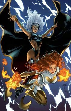 Storm & Phoenix - I have a bit of a love/hate relationship with Jean Grey / The Phoenix. She was cool when she was simply Jean Grey, but then they had to go and make her a god and all that. *rolls eyes*
