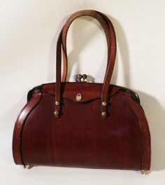 1964 VINTAGE  Etienne Aigner Oxblood RED Handbag Purse~NEW WITH TAGS ... 3b4f0e9630708