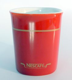 Vintage Nescafe Red Coffee Mug With Gold Lettering & Stripe Made In England #Unbranded