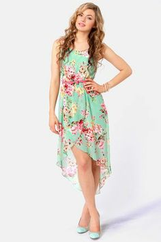 Apple Orchard Floral Print High-Low Dress: I'm not one for mullet dresses, but I would actually wear this! Grad Dresses, Casual Dresses, Summer Dresses, Floral Dresses, Long Dresses, Pretty Dresses, Beautiful Dresses, Dress Skirt, Dress Up
