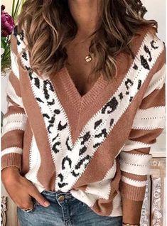 Leopard-Print V-neck Stripes Long Sleeve Casual Sweatshirt Casual Sweaters, Sweaters For Women, Cardigans, Women's Sweaters, Sweater Shop, Pulls, Types Of Sleeves, Long Sleeve Sweater, Prints