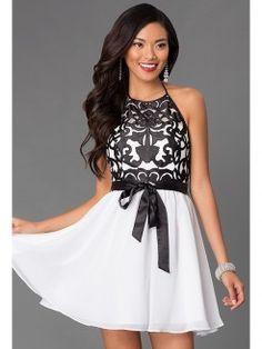 A-Line/Princess Halter Sleeveless Applique Short/Mini Chiffon Dresses