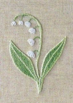 Embroidered lily of the valley