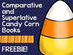 This product includes 11 interactive comparative and superlative candy corn pages that can form a small book.To prepare: Print a book for each student that you will be working on comparative and superlative adjectives with.  Cut each page down the dotted line in the middle and stack the pages on top of each other with the cover page on top.