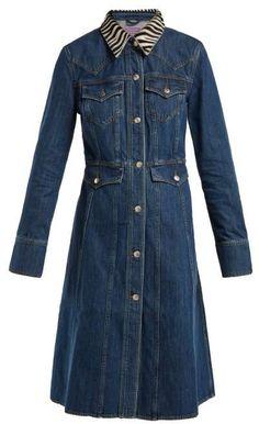 ALEXACHUNG Zebra Collar Denim Dress - Womens - Denim Denim Shirt Dress, Blue Denim Dress, Denim Trends, Casual Outfits, Dress Outfits, Dresses, Casual Clothes, Alexa Chung, Who What Wear