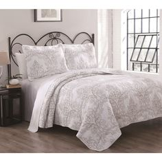 Whilshire 3-piece Cotton Embroidered Quilt Set | Overstock.com Shopping - The Best Deals on Quilts