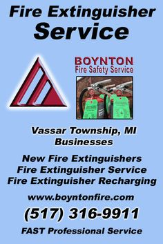 Fire Extinguisher Service Vassar Township, MI (517) 316-9911Local Michigan Businesses Discover the Complete Fire Protection Source.  We're Boynton Fire Safety Service.. Call us today!