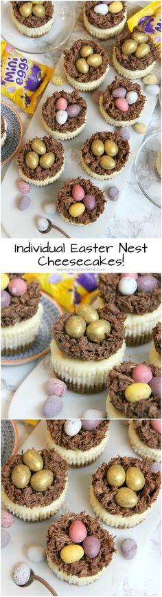 Easter Nest Cheesecakes! ❤️ Individual Creamy Vanilla Cheesecakes topped with Easter Nests, and Mini Chocolate Eggs. Perfect Mini Easter Nest Cheesecakes for Easter!